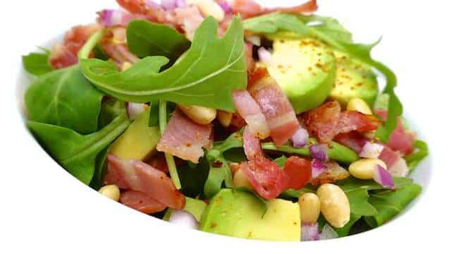 Summer Bacon Salad With Avocado Pine Nuts And Rocket Salad