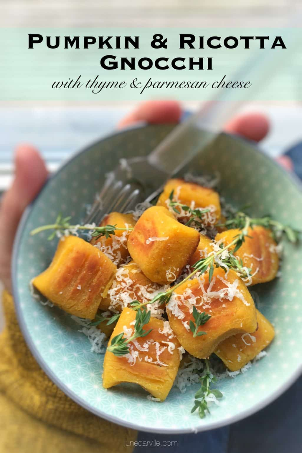 Crunchy pan seared pumpkin gnocchi with ricotta and parmesan cheese... This homemade gnocchi recipe is a great autumn side dish!