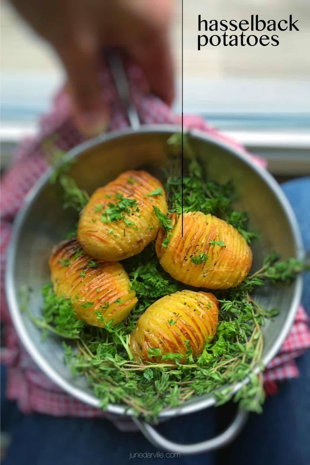 Hasselback potatoes, what a surprising and cute looking potato side dish! Apparently hasselback potatoes are a Swedish specialty.