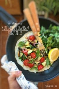 Leftover egg whites in the fridge? Make a delicious egg white omelet for lunch with mediterranean vegetables and fresh basil!