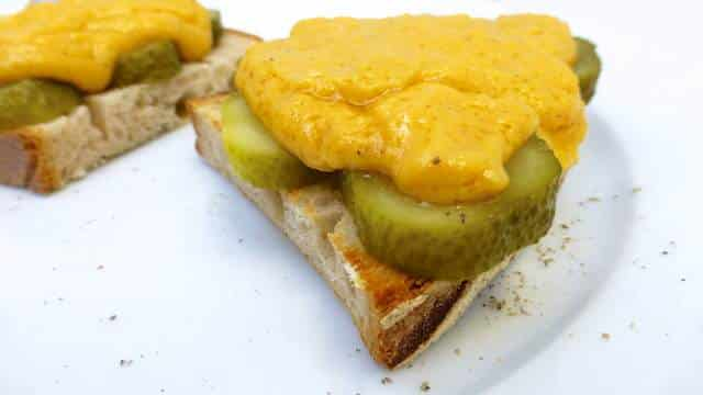 Classic Irish rarebit, a traditional cheesy toast with Irish ale, strong cheddar cheese and pickled gherkins... Delicious!