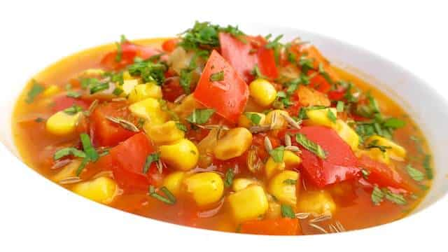 Roasted Bell Pepper And Corn Soup: sweet and spicy...