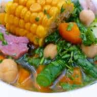 Potaje de Berros: Canarian watercress soup with corn, pork belly, saffron, green beans, chickpeas and carrots.