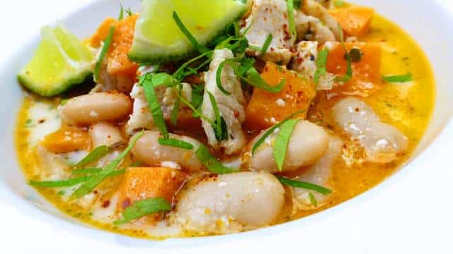 White Chicken Chili Recipe with white beans and sweet potato...