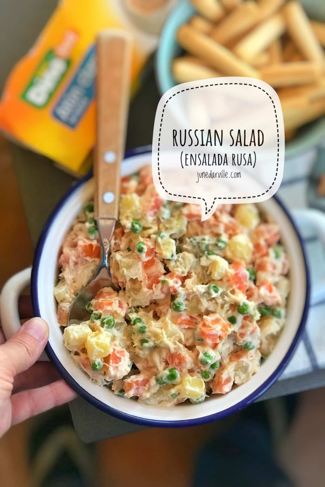 Creamy ensalada rusa, a Spanish classic tapa salad! In it are boiled potatoes, green peas, carrots, canned tuna and mayonnaise!