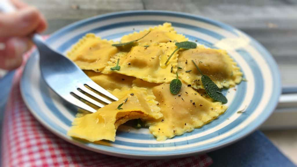 Check out my delicious homemade creamy pumpkin ravioli recipe, the ultimate autumn pasta! A fun recipe to make from scratch!