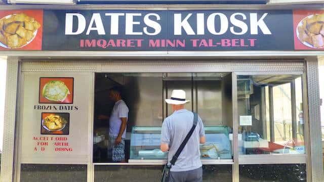 Fresh imqaret date fritters at the Dates Kiosk in Valletta, Malta!