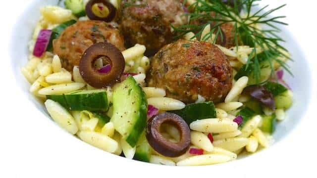 Greek Pasta Salad with Lamb Meatballs | Simple. Tasty. Good.
