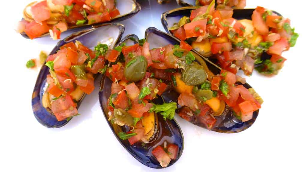 Now Heres A Super Tasty Cold Appetizer Mussels Vinaigrette Recipe Or Cooked Topped With