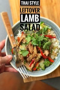 Got leftover lamb in your fridge? In for a little fusion cooking? Then you'll love these savory Thai style lamb salad rice bowls!
