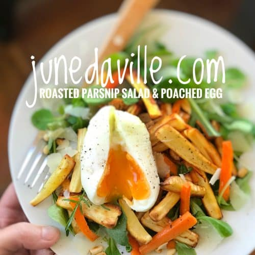 Roasted Parsnip Salad with Poached Egg