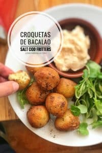 Homemade salt cod and potato croquettes, or Spanish croquetas de bacalao... These fish croquettes are super easy to make and highly addictive.
