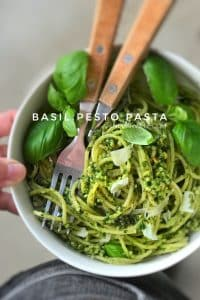 Classic pesto pasta with fresh basil, pine nuts and parmesan cheese... Ready in 20 minutes so one of my best last minute dinner ideas!