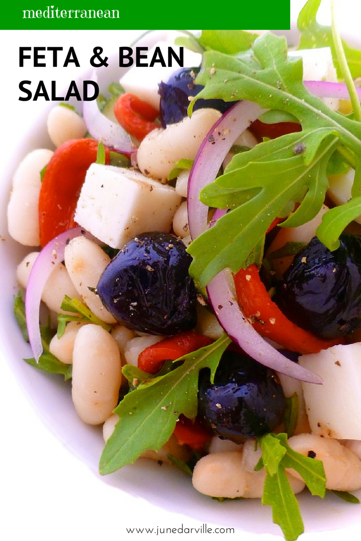 great summer bean and feta salad packed with olives, peppers ...