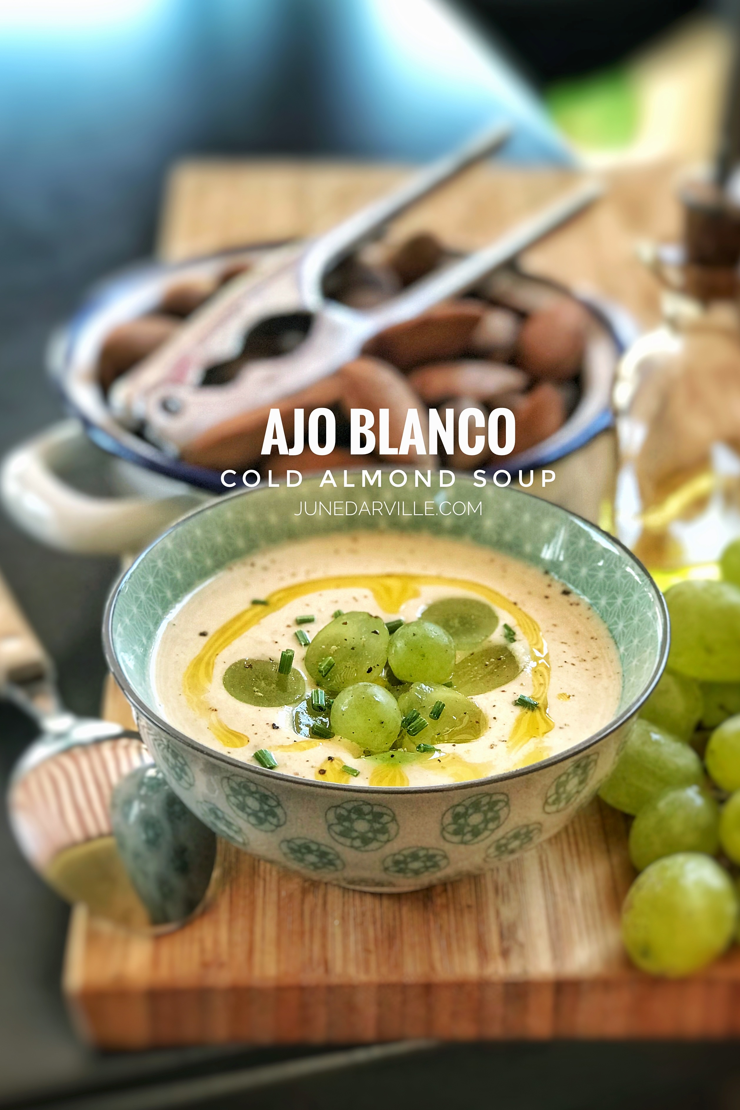 A creamy Spanish cold almond soup with sweet grapes that contains bread, garlic and almonds... also known as 'ajo blanco'.