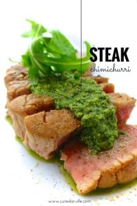 Steak with chimichurri sauce recipe... some ingredients are just made for each other! Sliced steak topped with a fresh parsley and cilantro sauce...