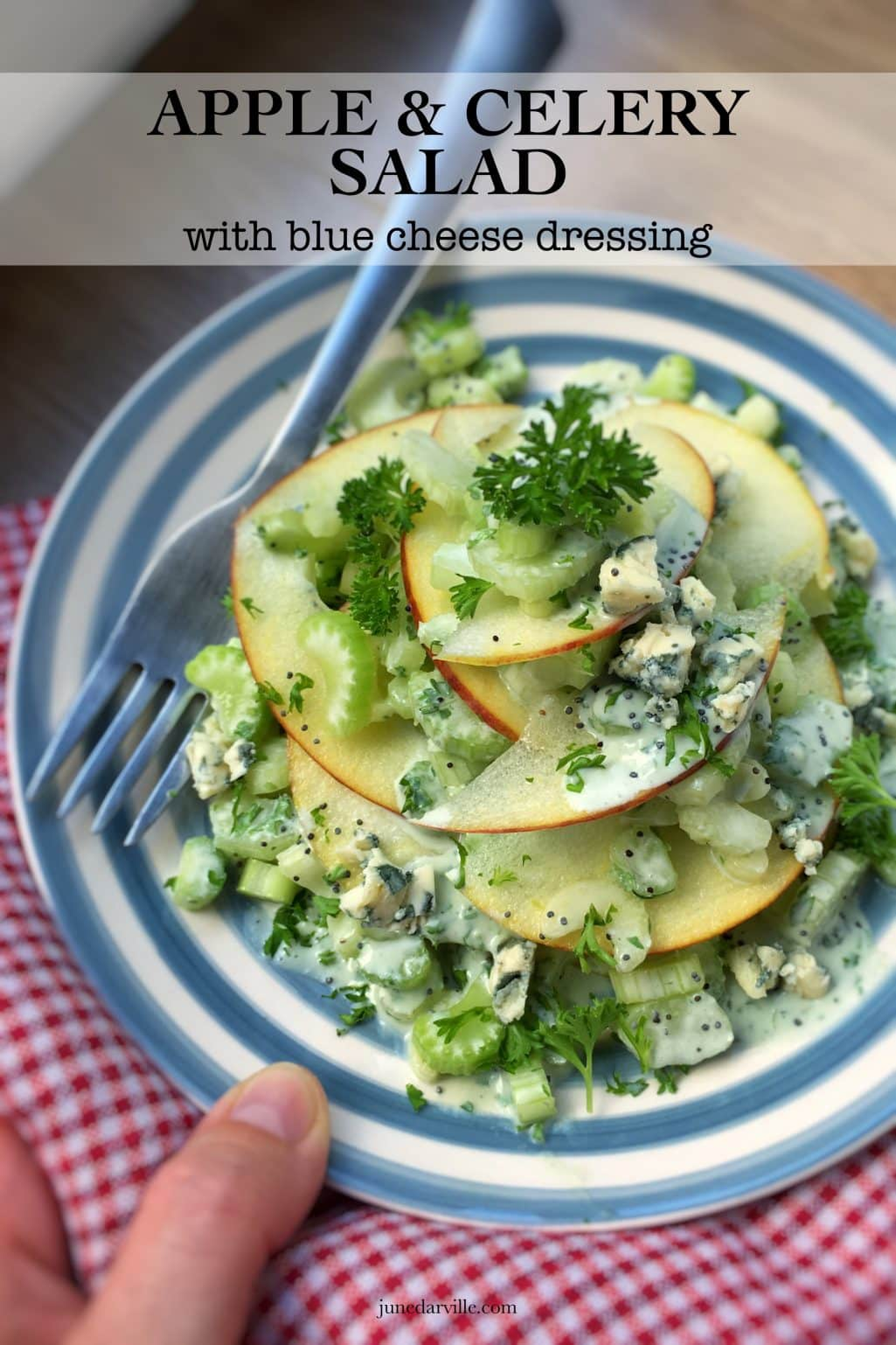 Celery Salad with Apple & Blue Cheese Dressing