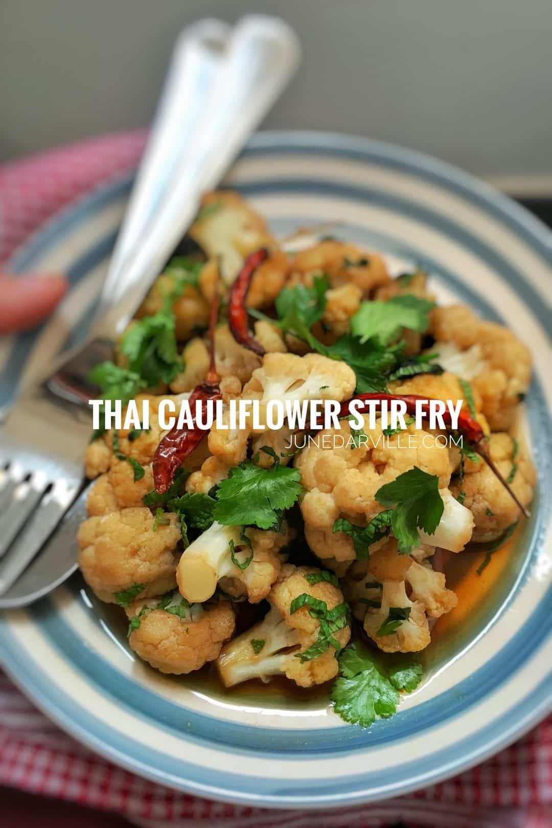 Crunchy vegetables in a simple oyster and fish sauce marinade... this Thai cauliflower stir fry is a quick and healthy side dish!