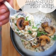 15 Minute Microwave Mushroom Soup with Rice