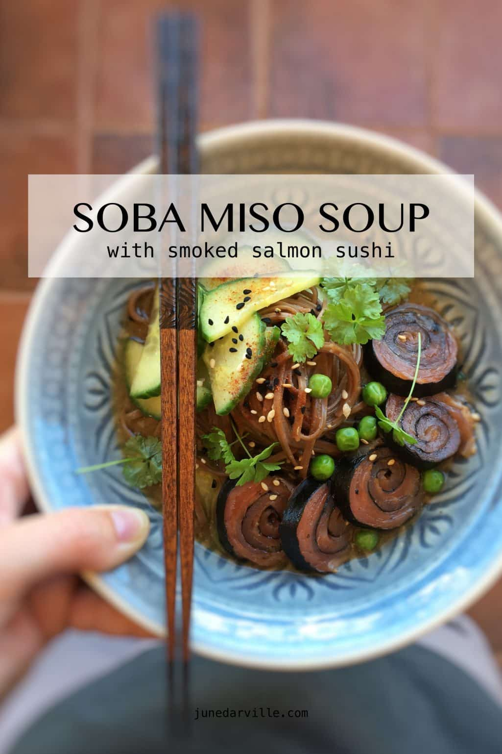 Soba Miso Soup with Smoked Salmon Sushi