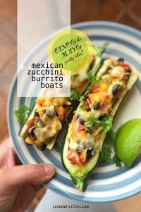 Mexican zucchini burrito boats, what a colorful lunch and a great recipe idea for your upcoming Cinco de Mayo food fiesta!