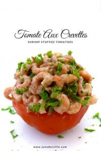 Tomate aux crevettes, tomaat garnaal or shrimp stuffed tomatoes, a Belgian classic! Easy to make in advance and delicious!