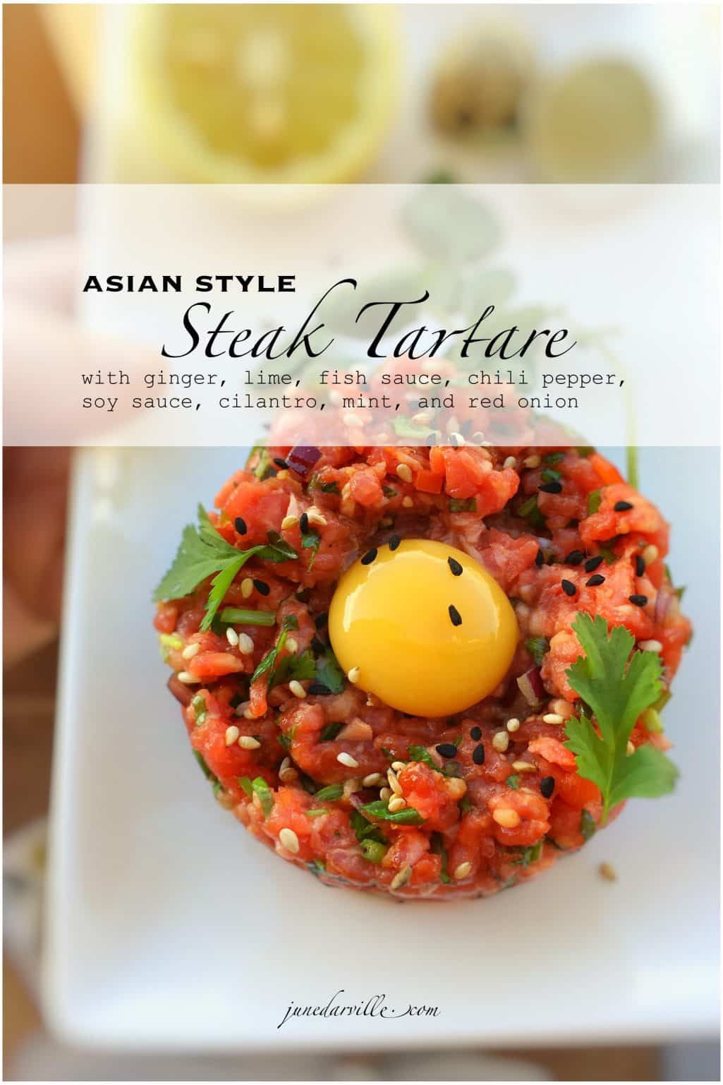 Classic dishes meets fusion cuisine: here's a colorful Asian style steak tartare, what a flavor bomb! Easy to make ahead, the perfect starter!