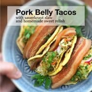 Pork Belly Tacos with Beer & Sauerkraut Slaw