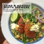 Lamb Kofta Skewers with Harissa & Couscous