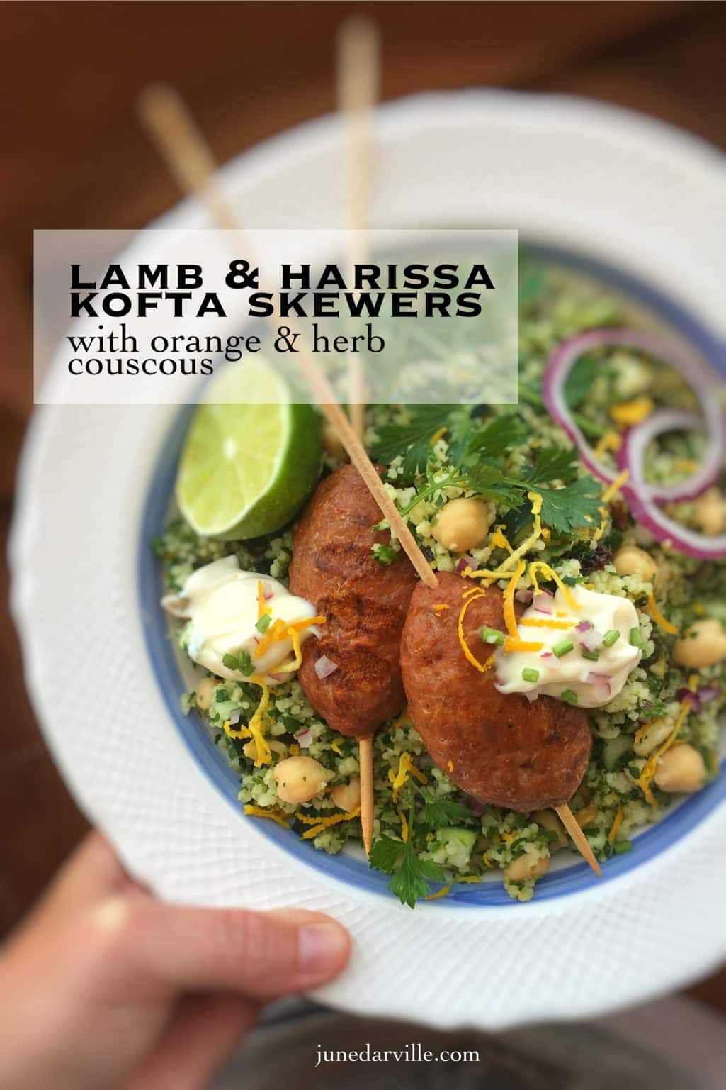 Look at these savory lamb kofta kebabs... Packed with beautiful Middle Eastern spices and served with a flavorful orange zest couscous!