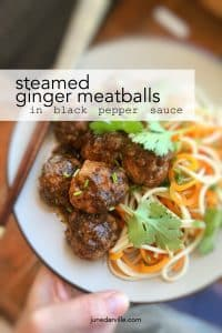 Watch my video of how I make these delicious steamed ginger meatballs in a hot black pepper sauce, using my fabulous KitchenAid Stand Mixer Mini and my Cook Processor!