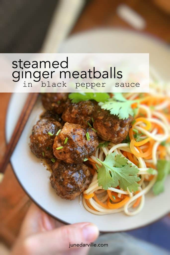 Watch my video of how I make simple steamed ginger meatballs in hot black pepper sauce with my fabulous KitchenAid Stand Mixer Mini and my Cook Processor!