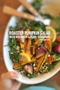 Wholesome roasted pumpkin salad with roasted red onion, arugula, pearl couscous pumpkin seeds... a top notch vegetarian dinner!