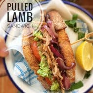 Pulled Lamb Sandwich with Mushy Peas