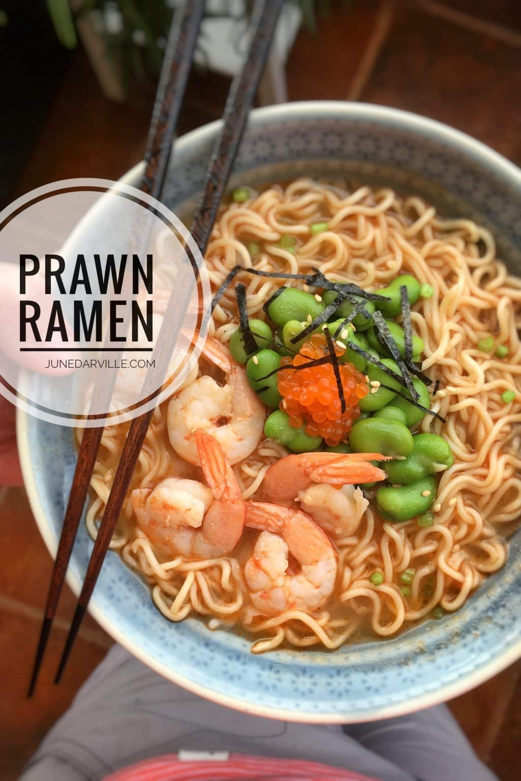 My simple ramen soup recipe with homemade prawn broth, that's the best broth ever! This ramen soup bowl is a delicious Asian lunch!