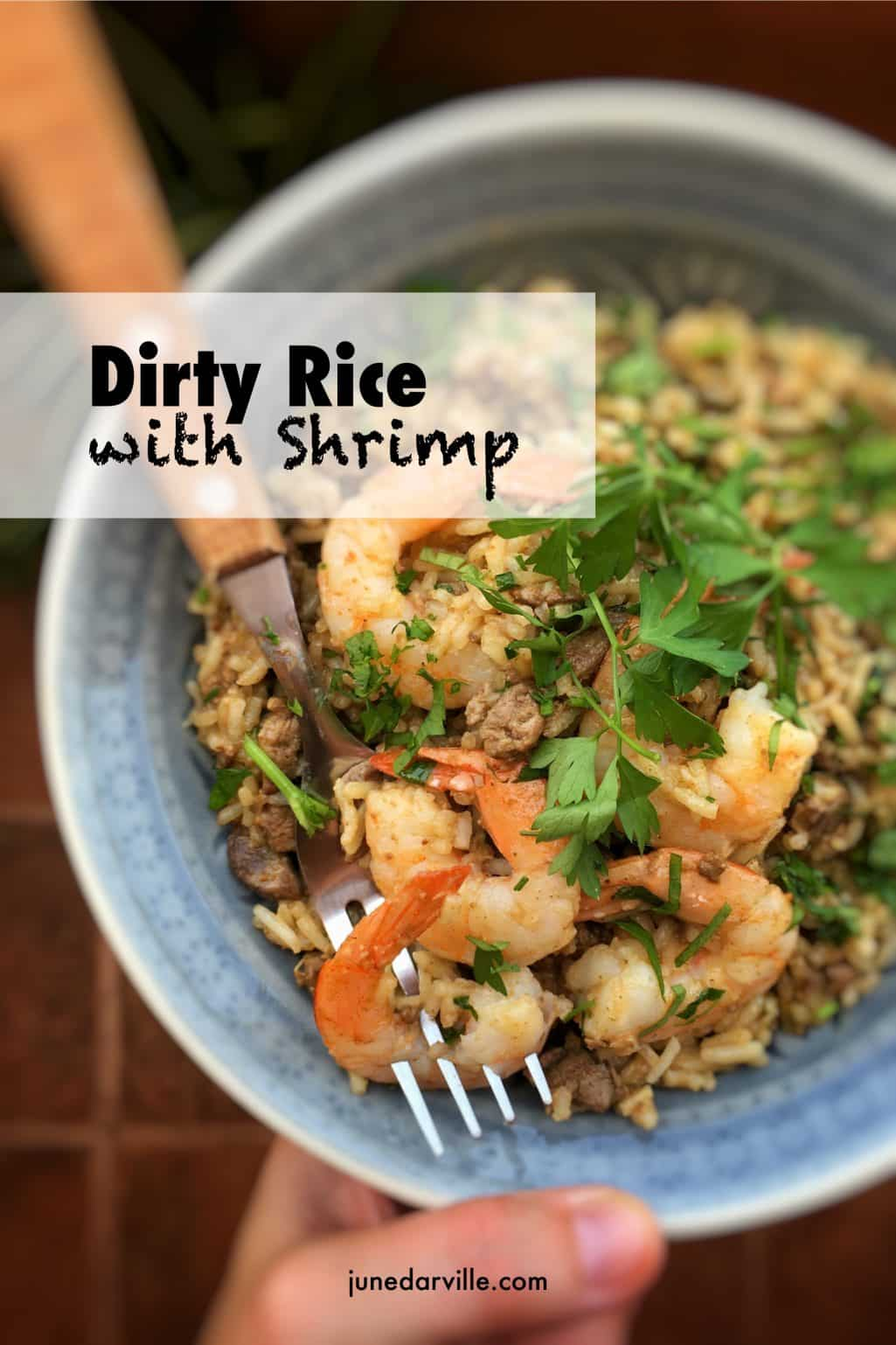 Dirty rice with shrimp? You will love this bowl of stir fried buttery rice, chopped liver bits, shrimp and hints of cumin and paprika!