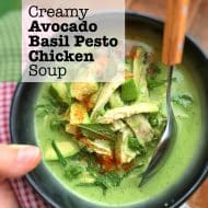 Pesto Chicken Soup with Avocado