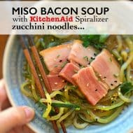 Zucchini Noodle Soup with Miso & Bacon
