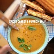 Carrot Pumpkin Soup with Ham & Cheese Sammies