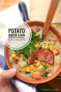 Love the creaminess of this potato corn chowder: the salty crunch of the bacon and the sweet flavor of the corn are a perfect match!