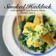 Smoked Haddock with Spinach & Butter Sauce