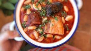 Spanish fabada asturiana, a great bean stew with smoked chorizo sausage, a thick slab of panceta and one blood sausage...