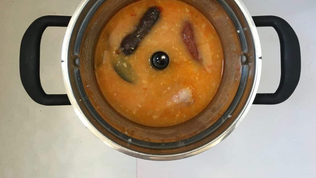Spanish fabada asturiana, a great bean stew with smoked chorizo sausage, a thick slab of panceta and one blood sausage...
