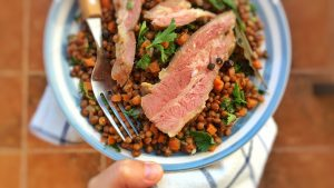 Try this French petit sale aux lentilles, a classic lentil stew with bits of salted pork! French traditional cuisine at its best...