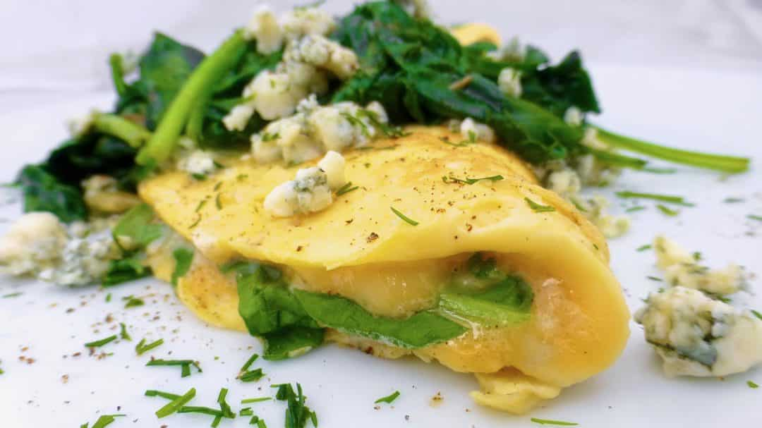Spinach Omelette with Stilton Blue Cheese
