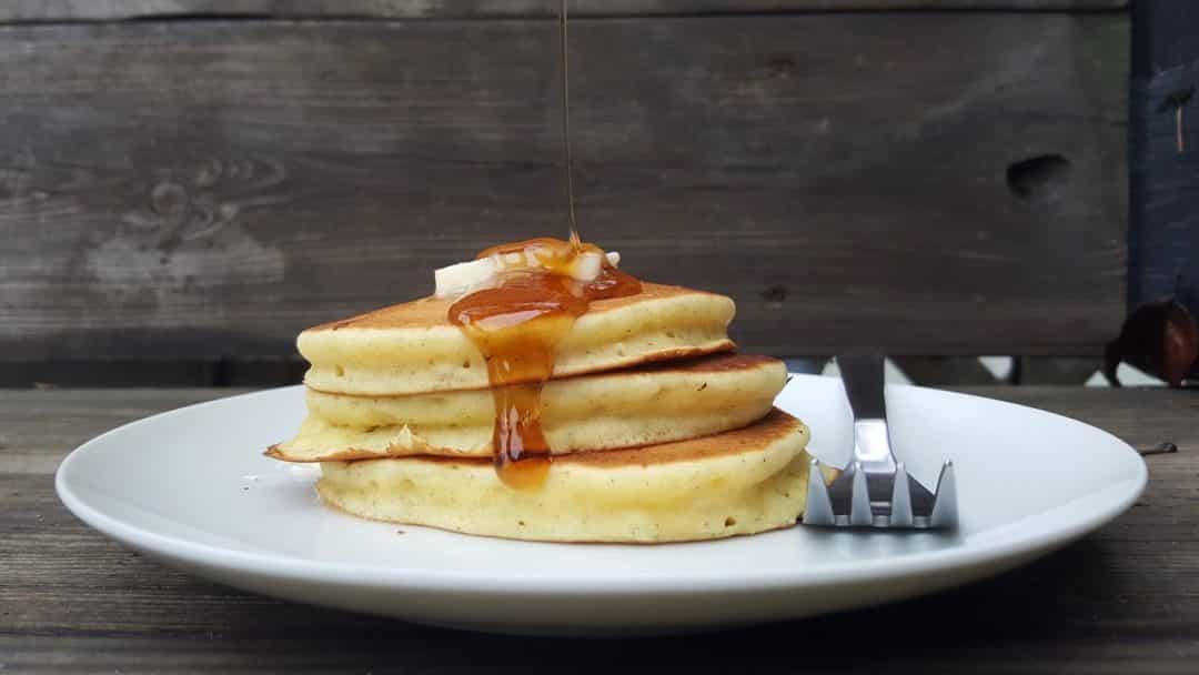 My popular easy pancake recipe... made with leftover old bread! These pancakes are great for breakfast or an afternoon snack!
