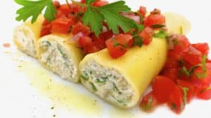 No bake cannelloni stuffed with artichokes and ricotta, topped with a fresh tomato bruschetta... what a scrumptious summer dinner!