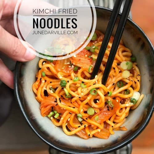 Kimchi Fried Noodles with Spring Onion