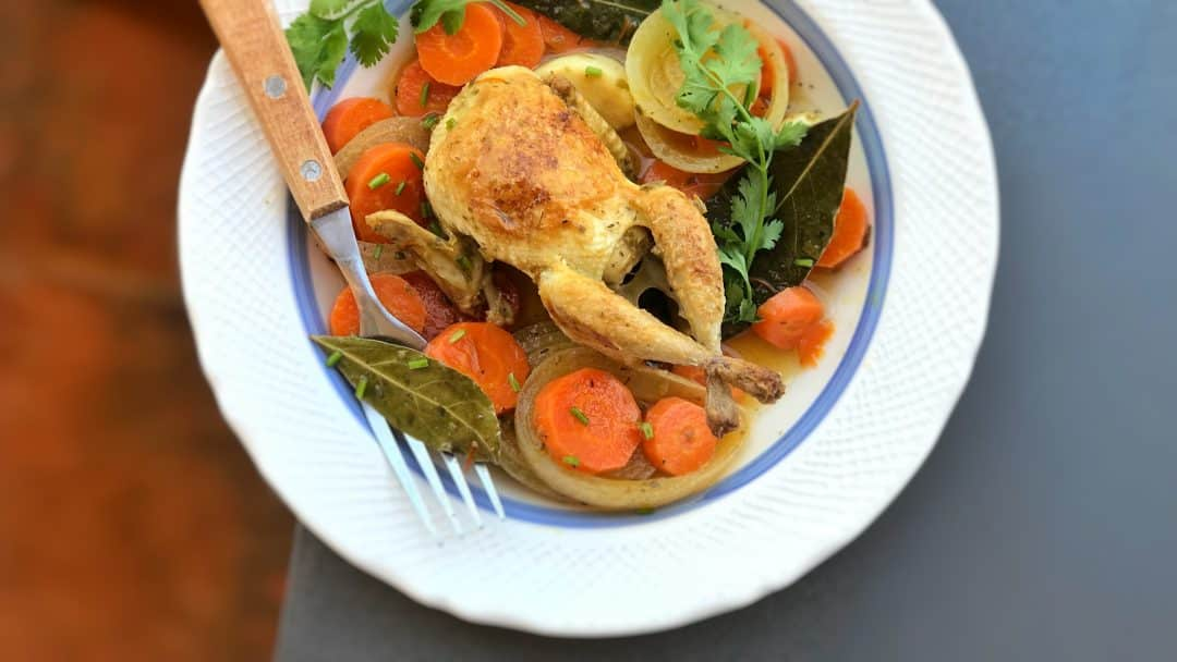 Quail en escabeche, the perfect dish for when you need a gorgeous starter or main dish! And easy to make a day or two in advance...