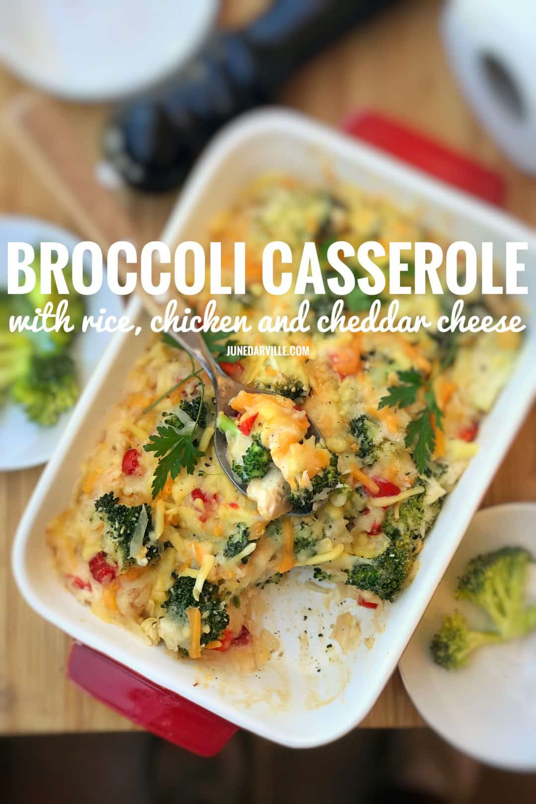 This broccoli casserole would be a great dish for my next potluck party! Hey, you can also leave out the chicken and turn it into a vegetarian oven dish.